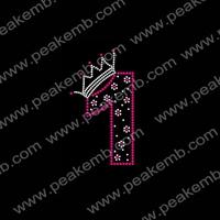 50Pcs/Lot Free Dhl Shipping Number One Hotfix Rhinestone Transfers Iron On Wholesale Bling T-shirt Design