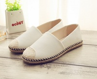 New women fashion casual Shallow mouth flat sheepskin Shoes Canvas Single shoes heavy-bottomed free shipping