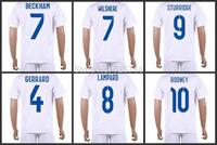 Rooney beckham wilshere lampard gerrard Sturridge soccer uniforms 2014 national home white jersey and short