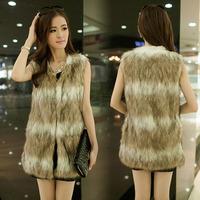2014 New Women Lady Winter Fashion Warm Faux Fur Jacket Coat Outwear Long Vest Waistcoat S-XXXL Plus Size Free shipping