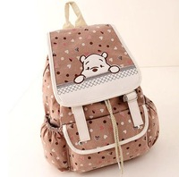HOT! 2014 New Fashion cute Bear Floral printing  canvas Backpack best selling school bags sports bag Travel Bag free shipping