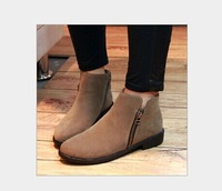 2014 women fashion casual Autumn Winter Warm Single boots Flat shoes Martin boot motorcycle boots free shipping