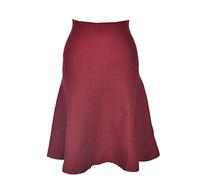 High Waist Knit Knee Length Autumn Winter Skirt, Black, Grey Maroon