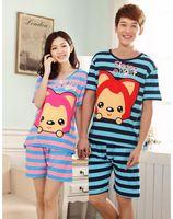 Summer cotton couples cartoon pajamas sets short nightgown sleepwear suits for women men