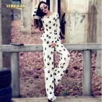 2014 Autumn fashion black and white polka dot print lace shirt blouse long sleeve+long pants plus size twinset pants suit