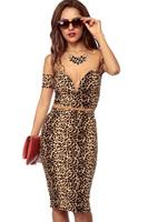 new 2014 fashion Summer women High Street dress Sexy Wild Leopard Dress Set With Drop Shoulder Top LC6645