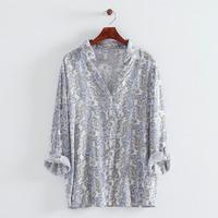 2014 New Autumn Women Fashion Flower Prints Full sleeves Turn-down collar Shirts Ladies Casual Cotton Blouses 1015305004
