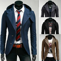 2014 New Fashion Stylish Autumn Winter Cloth For Men Male Hooded Slim Fit Single Breasted Jackets Overcoat Outerwear 4 Color