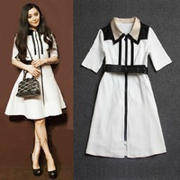 Free Shipping 2014 black and white stripes patchwork half sleeve fashion women dress