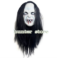 free shiping Halloween masquerade masks black hair latex full face cover party stage props free size