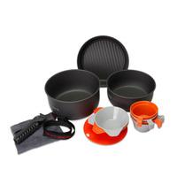 3-4 People 14PCS Camping Cookware Set 1005g Hard Alumina Pot Outdoor Pan Flambe Pan Bowl Frying Pans Cup Cloth Fabric Picnic C10