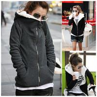 2014 New Fashion Fleece Thickening Cardigan Zipper Lining Hooded Sweatshirt Women Hoodies Korean Girl Winter Fall Wearing