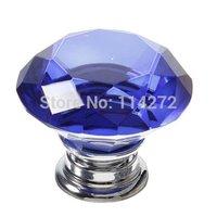 Free Shipping 10pcs/lot 40mm blue crystal diamond Cabinet Handles &Drawer Knobs