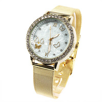Women's Ladies Crystal Alloy Bracelet Quartz Watch Butterfly Decor Wrist Watches Free Shipping and Drop Shipping