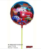 selling 8.5 Inch small supporting rod of automobile general mobilization foil balloons of cartoon aluminum film balloon