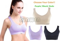 Plus Size Women's Comfort Soft Seamless Stretch Sports Leisure Bra Yoga Vest crop top Bra No Padded B6 SV007716