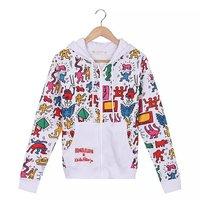 2014 Winter NEW black outwear BIGBANG cartoon print Men Hooded zipper sweatshirt pullover sportwear casual jacket Brand coats