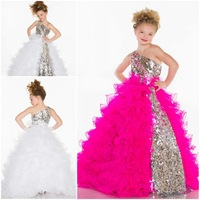 2014 Layered Girl's Pageant Dresses Princess One Shoulder BlingBling Sequin Organza Fuschia White Ball Gown Flower Girl Dresses