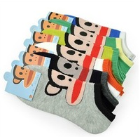 Free shipping  short sock cute monkey 100% cotton in the spring and autumn Cheap wholesale20PCS=10Pairs