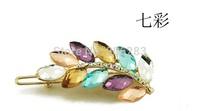Fashion crystal women Barrettes leaf hairpin B1288 5pcs/lot+free shipping