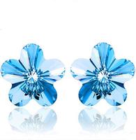 Top Quality Luxury Austria Crystal Earring,AAA Grade with 925 Sterling Silver Earring Pin,Light Blue Stone Earring OE36