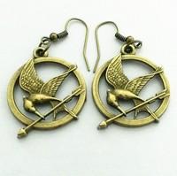 Free shipping,Min order 15$ (Mixed order) Trendy Retro 3D Mockingbird Hunger Games Alloy Logo Pendant Women Dress Earring Hook