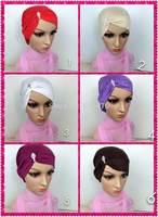 mu602 hot sale one side with water drop hot drill Mercerized cotton muslim islamic scarf hijab inner hat underscarf