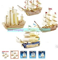 Wooden educational toys 3D puzzle DIY model of ancient ship sailing fight inserted