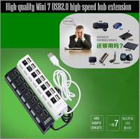 Free transportation : Mini USB 2 high speed 7 port hub / off black white notebook computer direct sharing device 1pcs