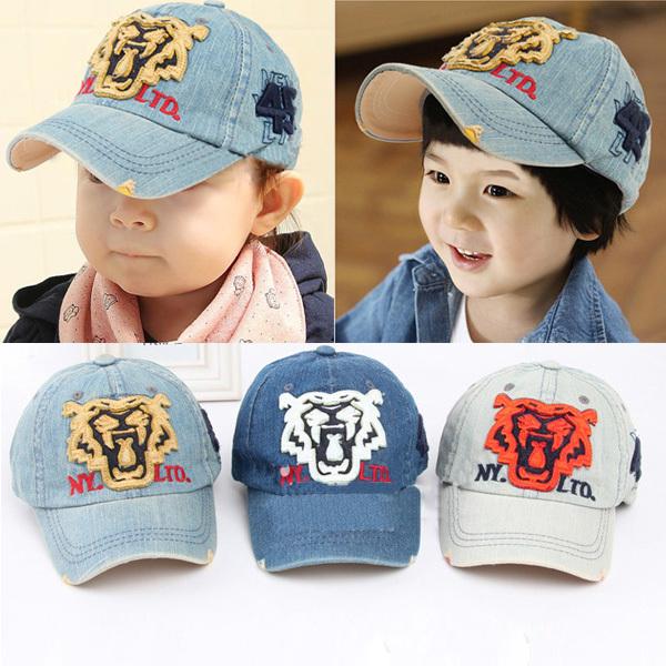 2-6Y Children Tiger Head Pattern Snapbacks Caps Cowboys Boy Girl Denim Baseball Golf Cap Sunhat Freeshipping(China (Mainland))
