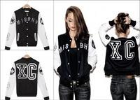 Fashion top 2014 mens misbhv fashion baseball uniform designer XC embroidery PU leather long-sleeve man casual jacket/outerwear