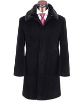 Fashion Men's Fur Collar Black Solid Cashmere Overcoats Brand Long Casual Wools Blends for Suits