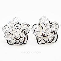 Free Shipping 925 Sterling Silver Earring Fine Fashion Cute Rose Stud Earrings Silver Jewelry Ear Stud Earring Y50 MPJ257#M5