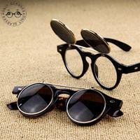 Steampunk Goggles Glasses Round Sunglasses Emo Retro Vintage Flip Up Cyber Punk