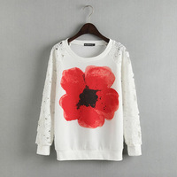2014 New fashion Europe Women fashion Lace hollow out long sleeve Sweatshirts Lady elegant floral print pullovers#J318