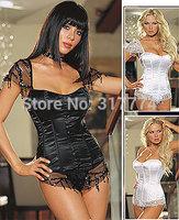 Hot Plus Size black/white Sleepwear Sexy Women Lace Tops Steel Bustier Lingerie Overbust Corset Dresses (S,M,L,XL,) 2105