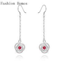 E522 Hot sale 2015 Christmas gift 925 silver drop earrings , silver plated zircon crystal earrings, fashion jewelry
