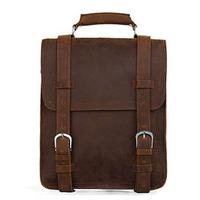 2014 New Vintage Preppy Style Genuine Leather Large Backpacks For Men Travel Backpack Camping Hiking Backpack Travel Bag