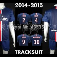 2014 15 Embroidery Suit IBRAHIMOVIC DAVID LUIZ Soccer jersey 2015 track uniform Camisetas de futbol /FREE Customize