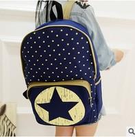 Five star Women Cartoon Cat Ear Shoulder Bag Backpack 2014 New Men Canvas Backpacks Travel Hiking Bags