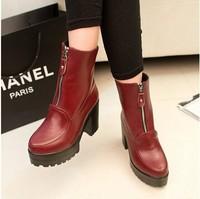 Metal zipper waterproof thick heels boots  Martin Knight autumn high heels boots  size 35-39 B163