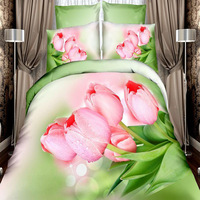 Light pink roses flowers bedding sets 4pcs 100%cotton queen size duvet quilt bed covers bedclothes comforters 3d printed linen