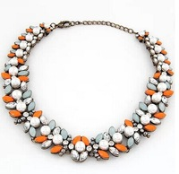 New Arrival fashion Z bib collar necklace & pendant chunky luxury bubble pearl pendant choker Necklace  XL-328
