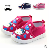 (6 Pairs/Lot) Baby Girls Love Heart Hello Kitty Toddler Antiskid Shoes Infant Cute Footwear Prewalker First Walkers