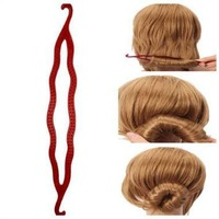 Wholesale 100PCS Double Hook/ Magic Hair Bun Maker Black or Brown Coffee Color Easy Hair Styling Tool