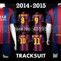 Embroidery Uniform 14-15 MESSI SUAREZ NEYMAR home Soccer jerseys Football tracksuit  Camisetas de futbol / FREE Customize