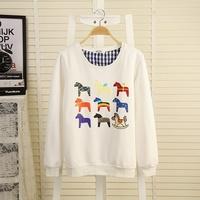 2014 Brand new korean women carton house print warm hoody,ladeis autum/spring hoodies,pullovers women's tops jackets with fleece