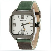 Korea Julius Homme men's wrist Watch, England Style Quartz Square Dial Fabric Stap Green Special Style JA-602