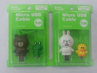 Free shipping 20pcs/lot 2014 Stylish USB line cable Animal bear/Rabbit USB Charger Cable Brave cookie Smartphone Micro USB Cable