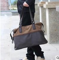 Vintage canvas&Leather men's travel bag Messenger College Shoulder sport Bags Military Casual Travel laptop handbag freeshipping